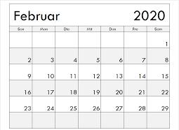 Februar 2020 Kalender leere Vorlage