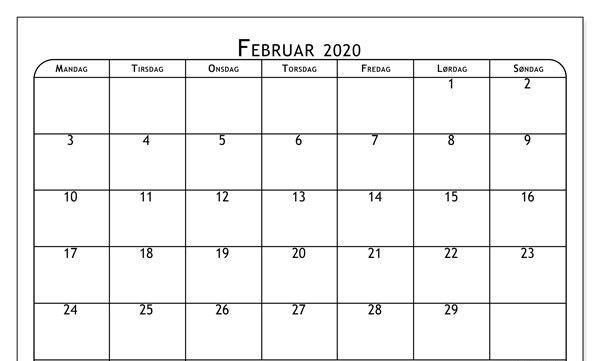 Februar 2020 Kalender mit Notizen
