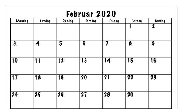 Februar 2020 Kalenderwort
