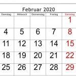Februar 2020 Kalender druckbare Vorlage herunterladen