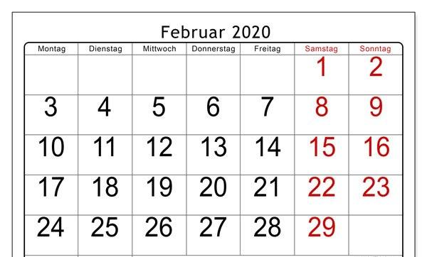 Februar Kalender 2020