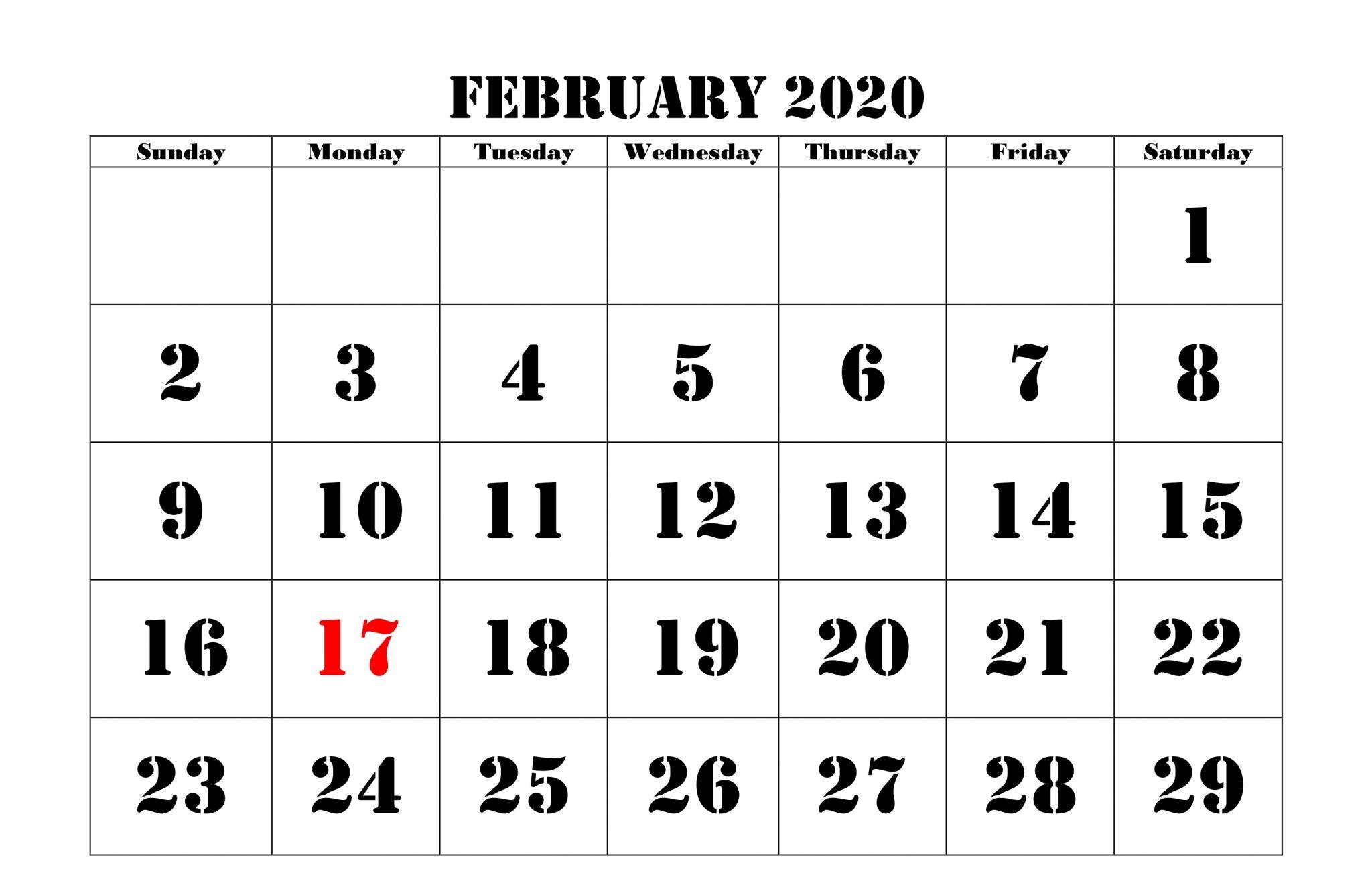 February 2020 Calendar Blank Template