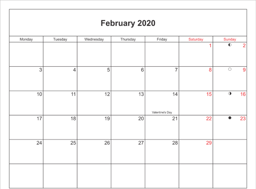 February 2020 Calendar Printable with Bank Holidays UK