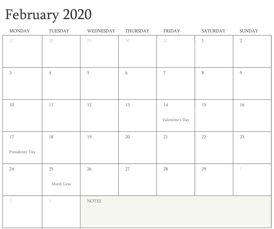 February 2020 Calendar with Holidays Germany