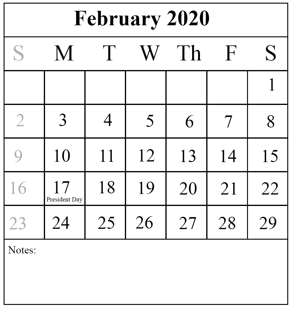 February 2020 Calendar with Holidays US