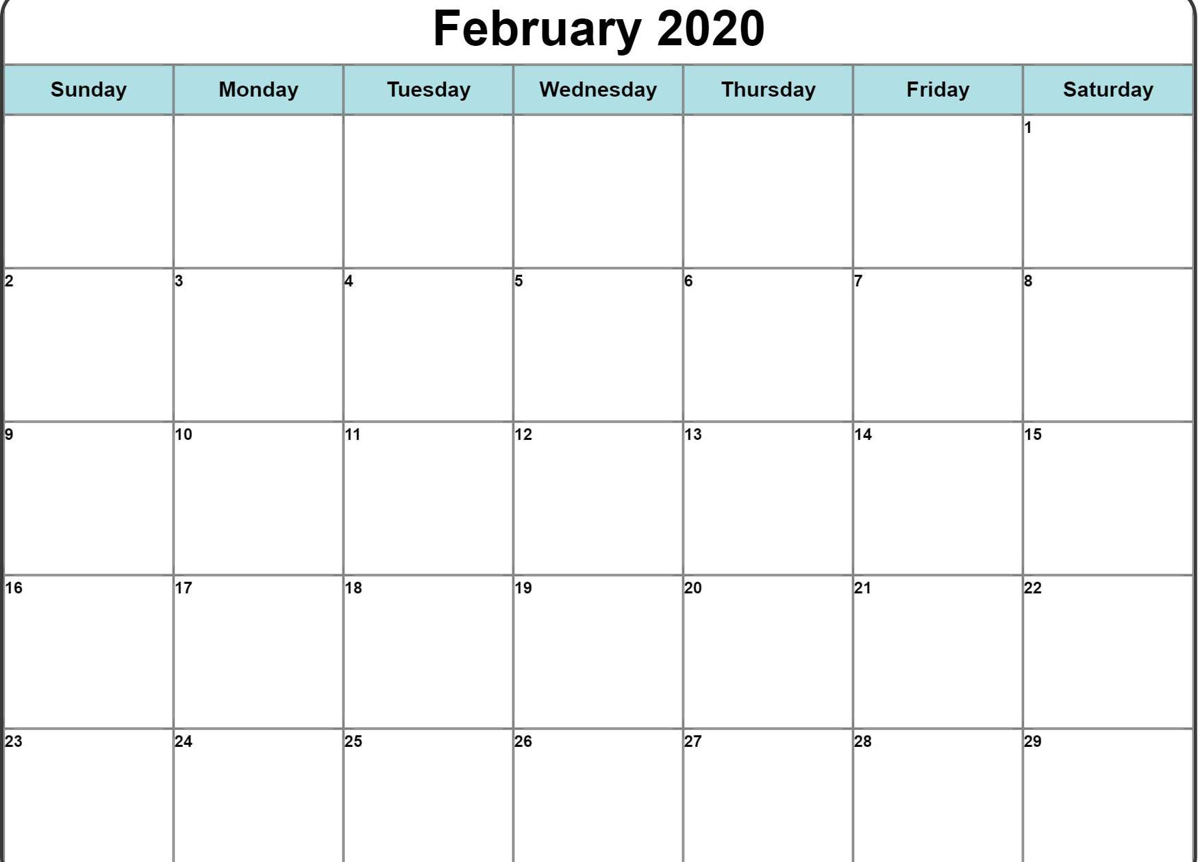 February 2020 Editable Calendar Portrait