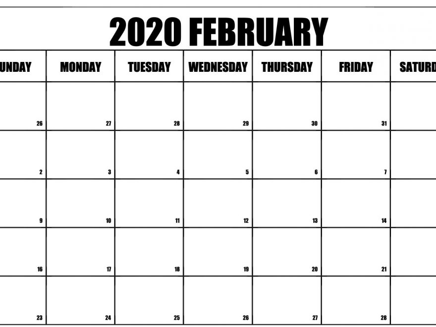 Fillable Calendar of February 2020 Excel