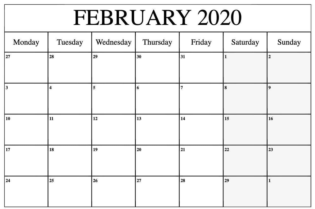 Fillable Feb 2020 Calendar