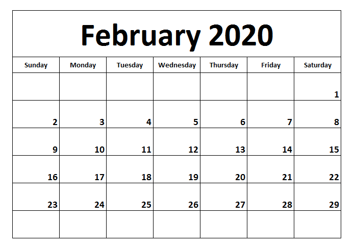 Fillable February 2020 Calendar