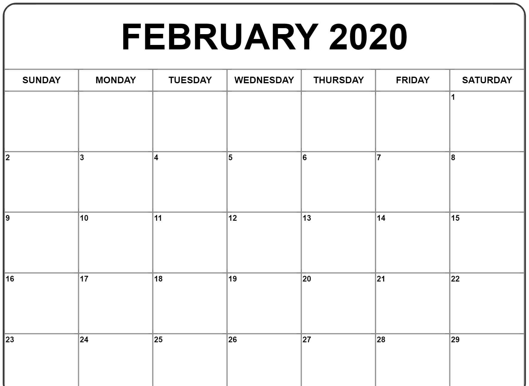 Fillable February Calendar 2020 Printable Template
