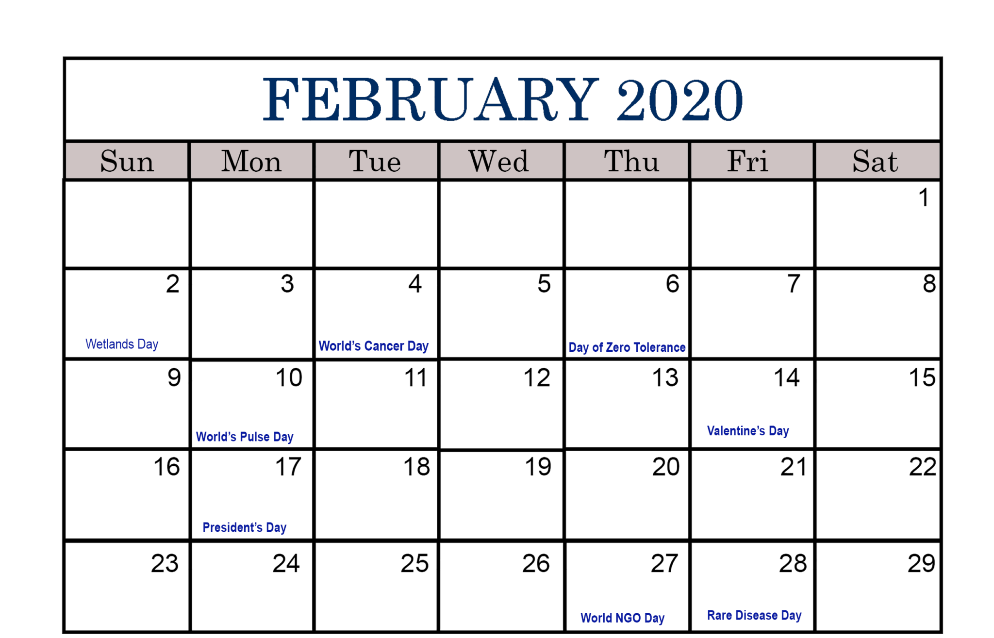 Fillable February Calendar 2020 Template