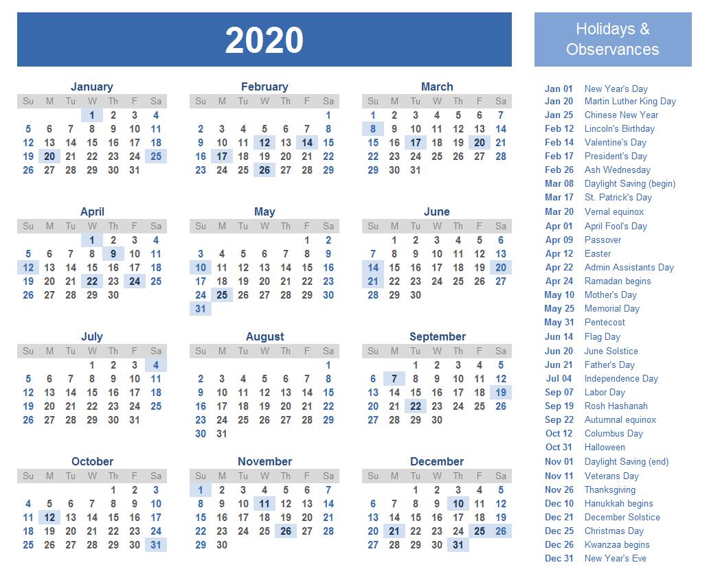 Free Editable Calendar 2020 Templates