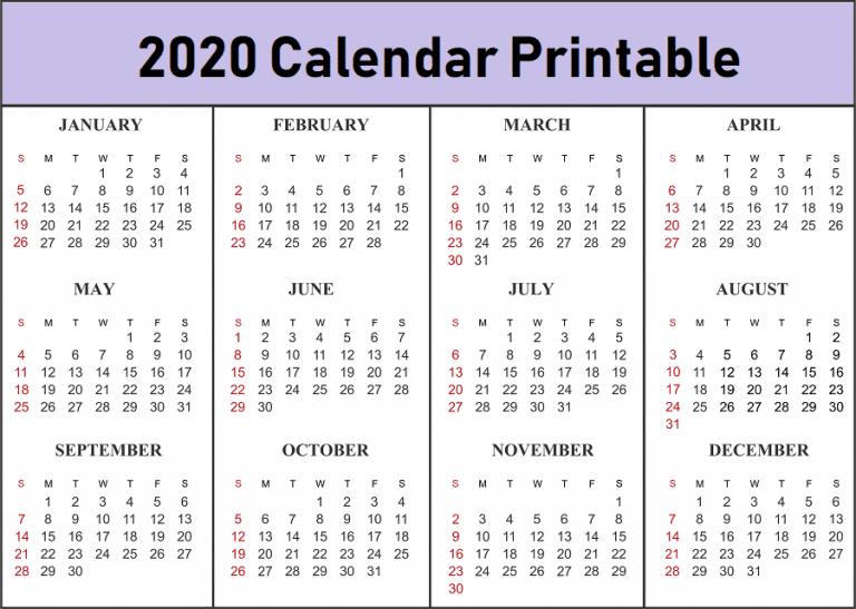 Free Printable 2020 US Calendar Template