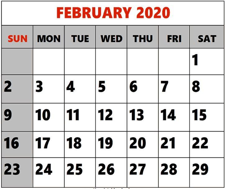 Free Printable Blank 2020 February Calendar