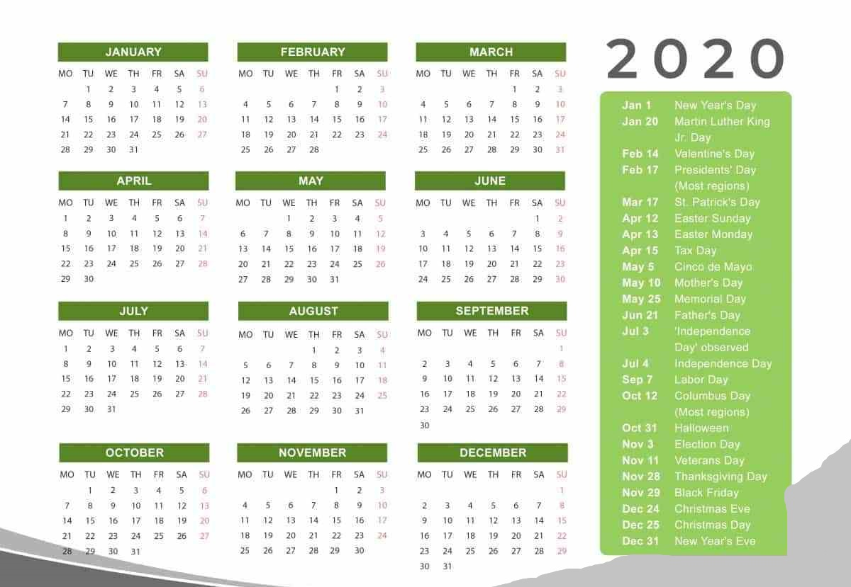 Holidays Calendar 2020 Printable Templates