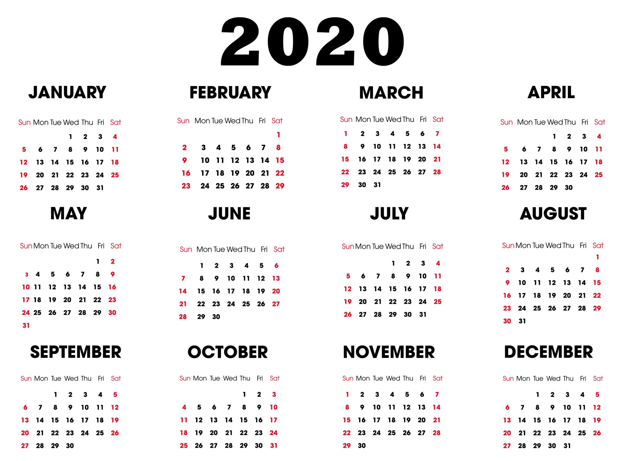 Printable 2020 Calendar Online