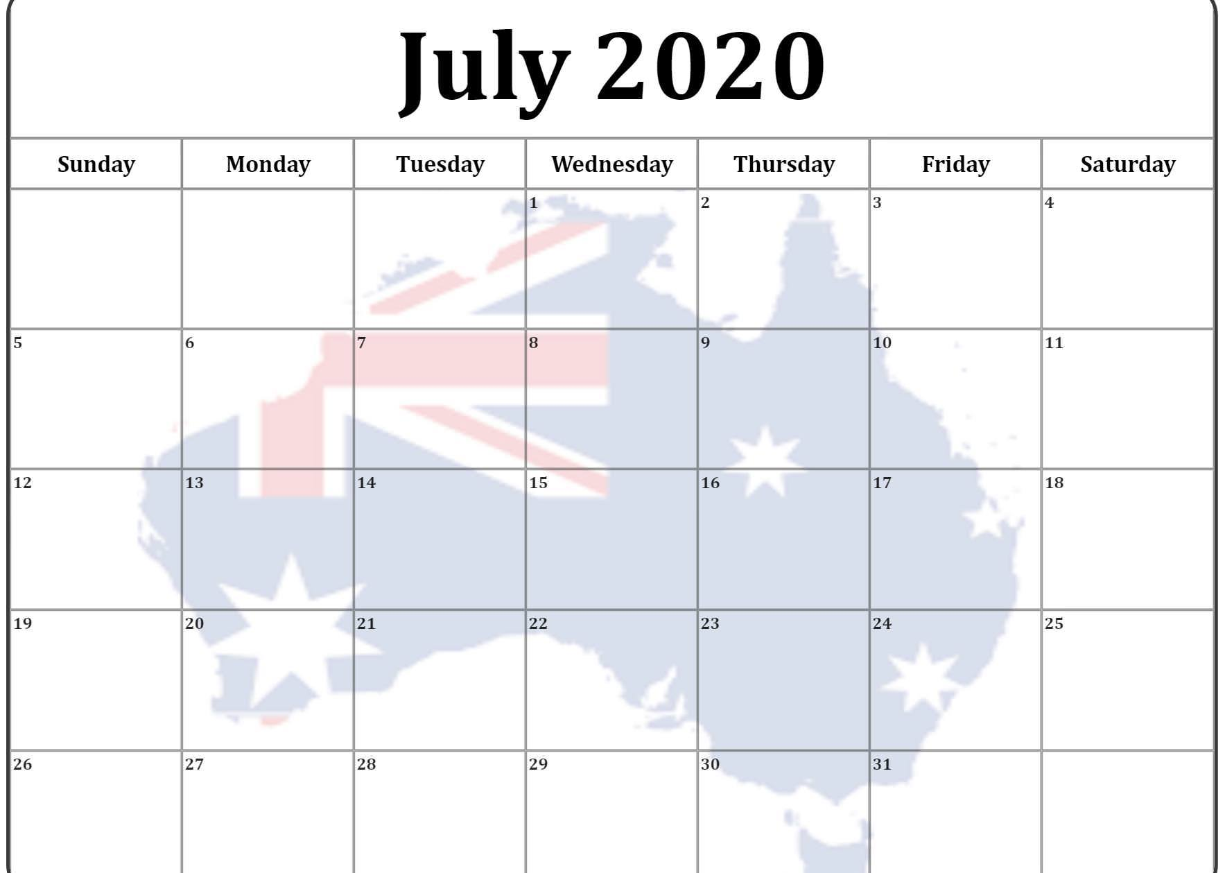 2020 Calendar July Australia
