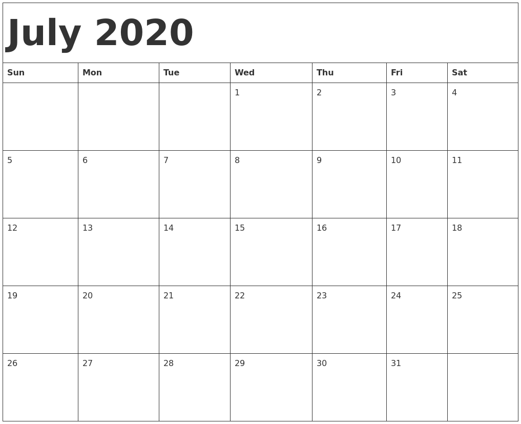 2020 Calendar July Excel