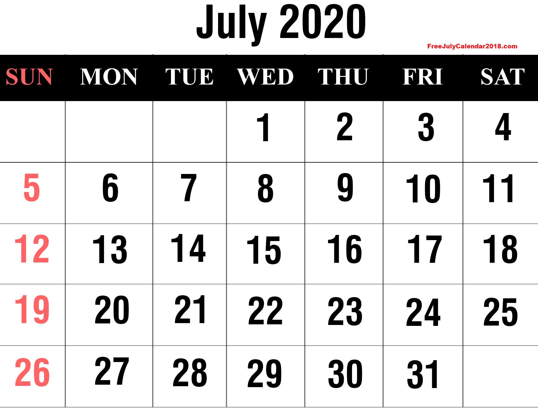2020 Calendar July Page