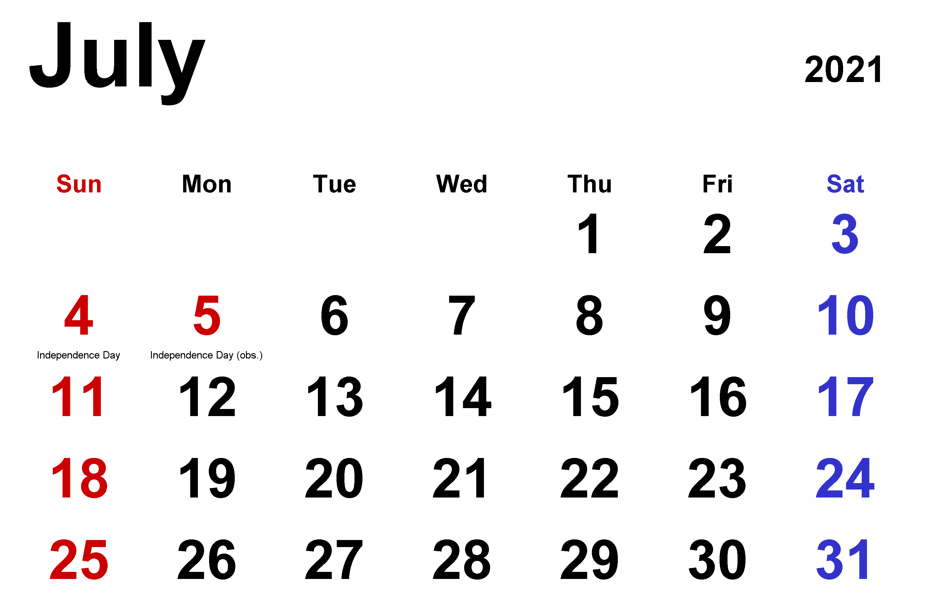 2021 Holidays of July Month