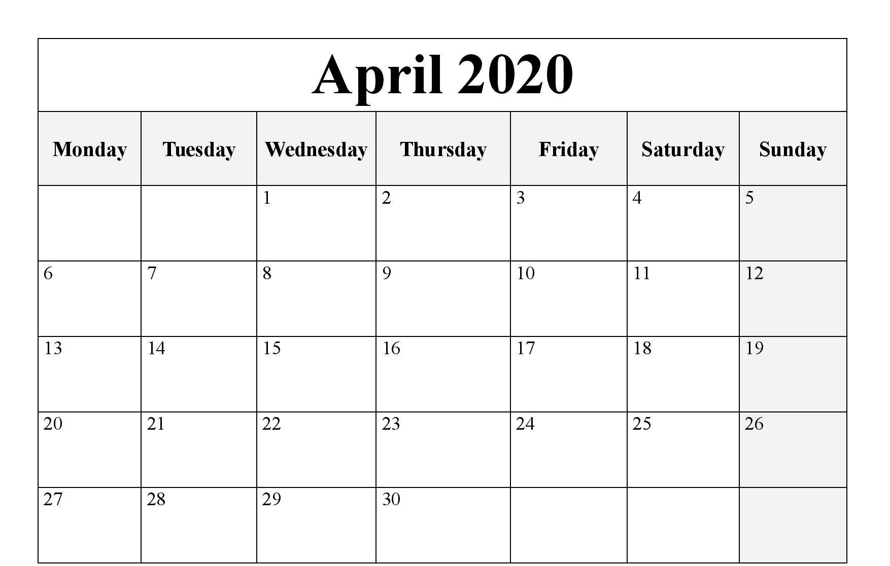 Blank Editable April 2020 Calendar