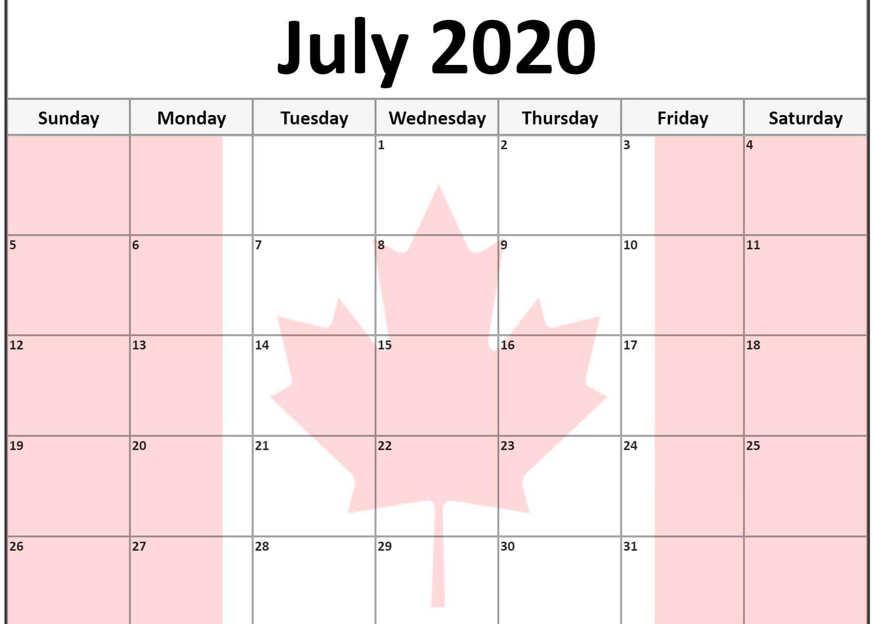 Calendar July 2020 Canada
