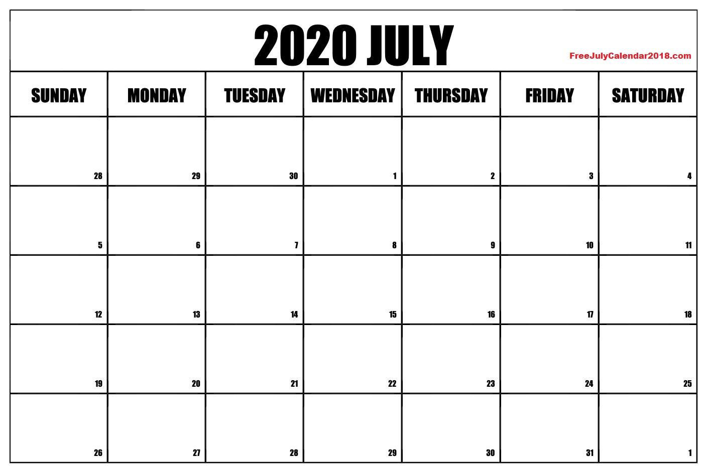 Calendar for July 2020