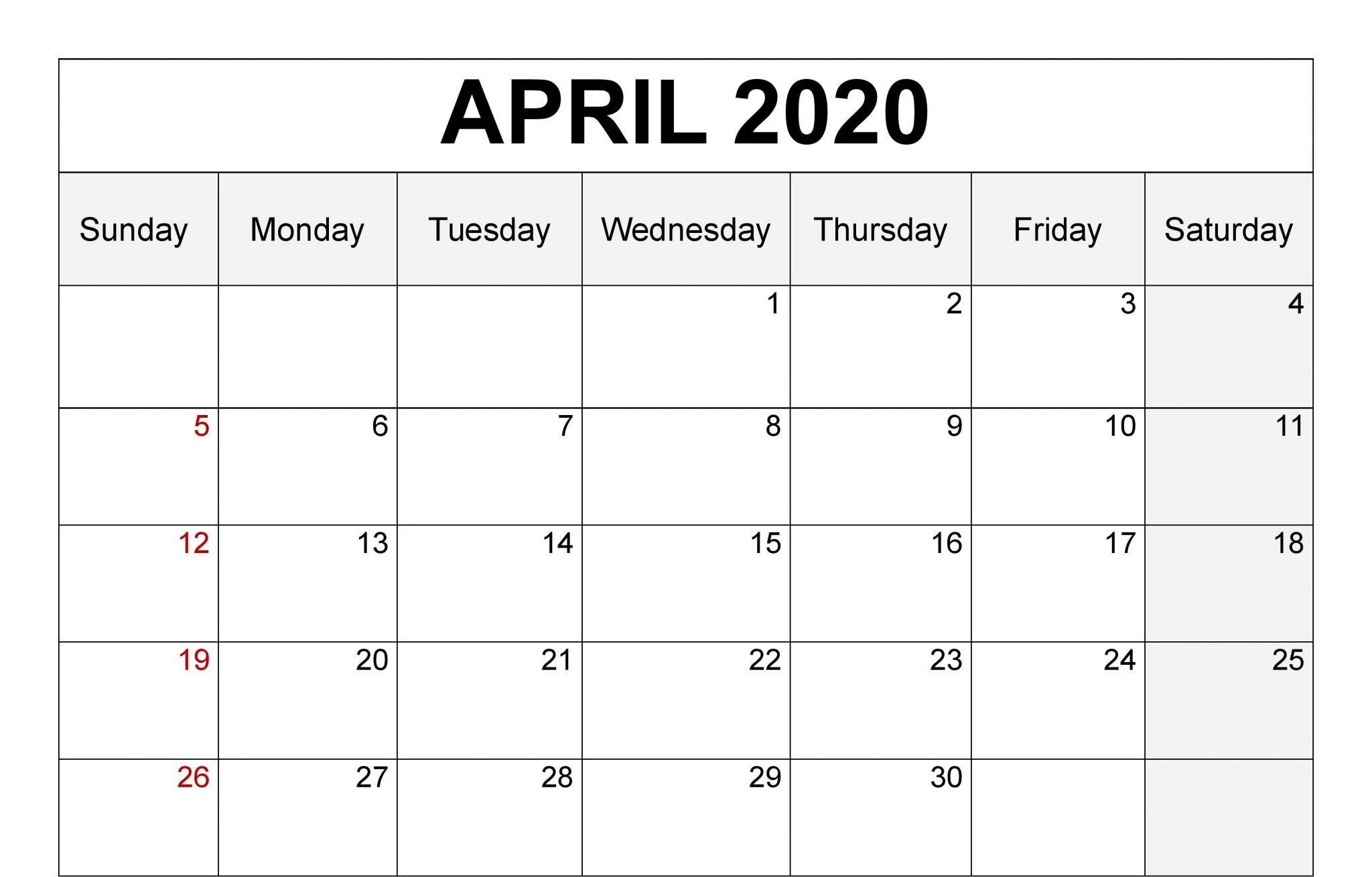 Editable Calendar April 2020PDF