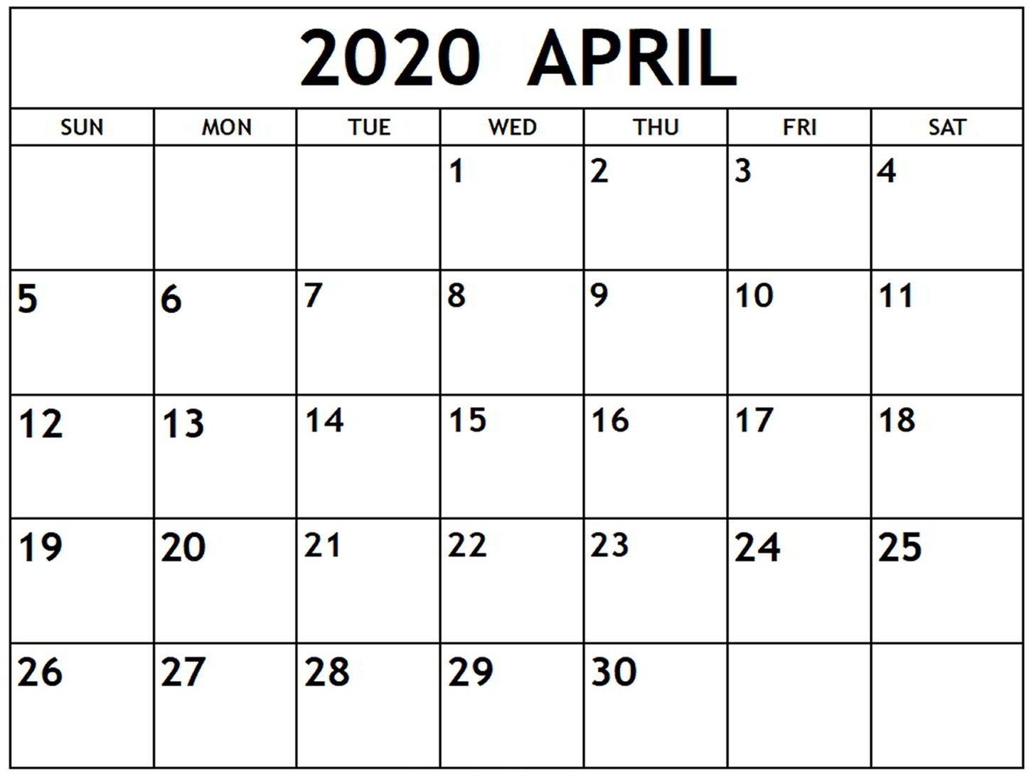 Editable Calendar April 2020 Templates