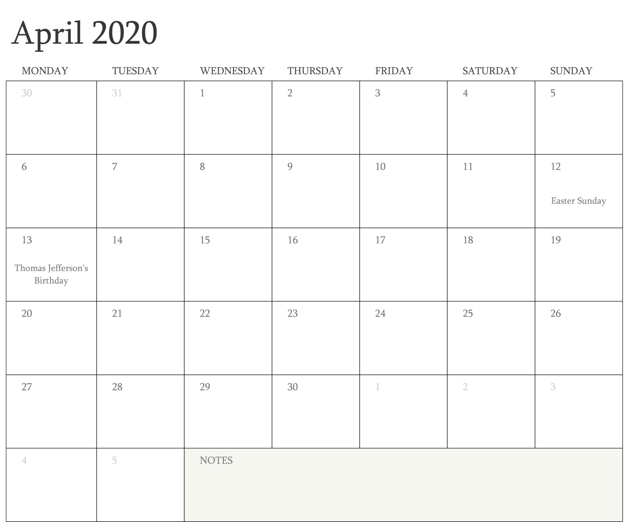 Editable Calendar April 2020 with Holidays