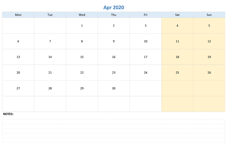 Editable Calendar April 2020 with Notes