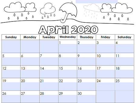 Editable Monthly Calendar April 2020
