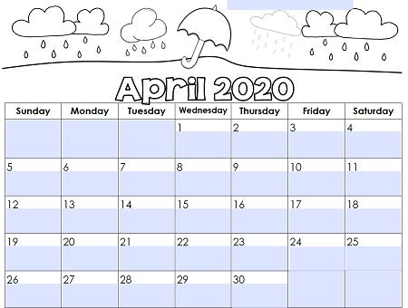 Editable Monthly Calendar April 2020