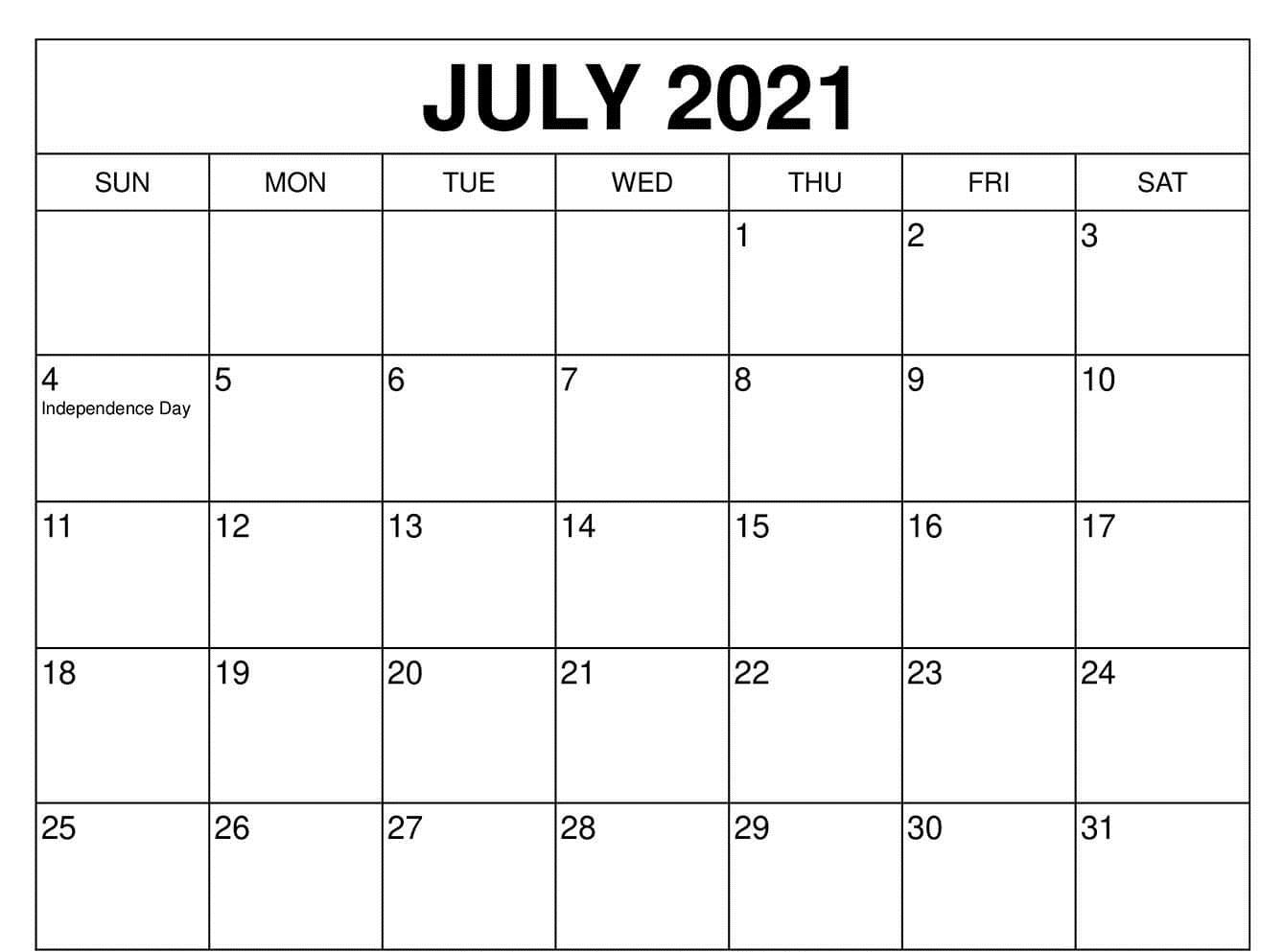 Free July 2021 Calendar with Holidays