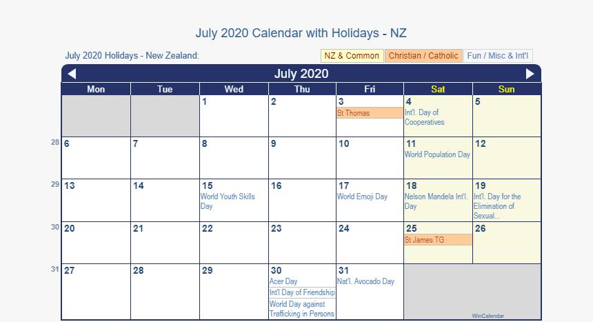 July 2020 Calendar NZ