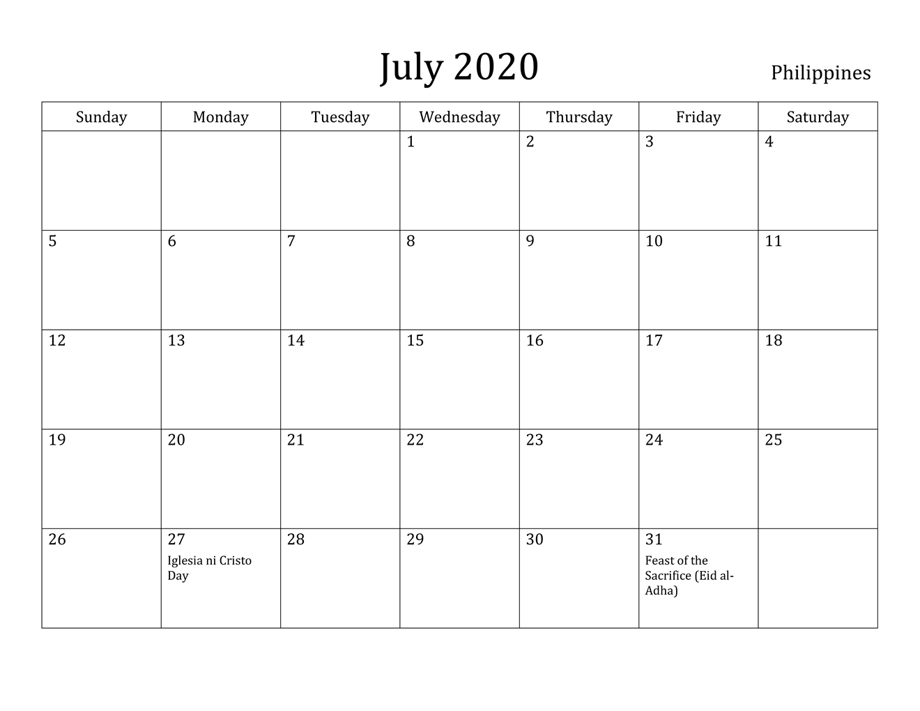 July 2020 Calendar Philippines Holidays