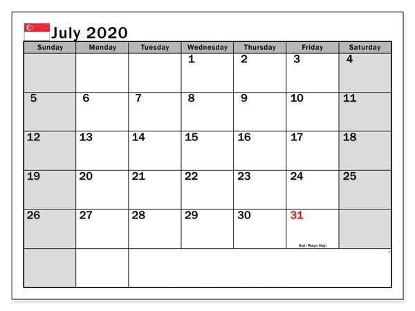 July 2020 Calendar Singapore