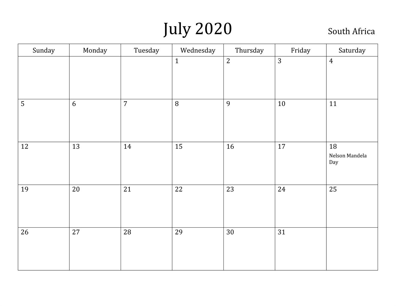 July 2020 Calendar South Africa