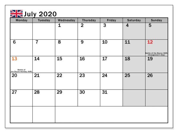 July 2020 Calendar UK