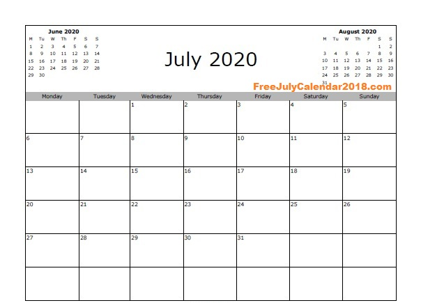 July 2020 Calendar Word