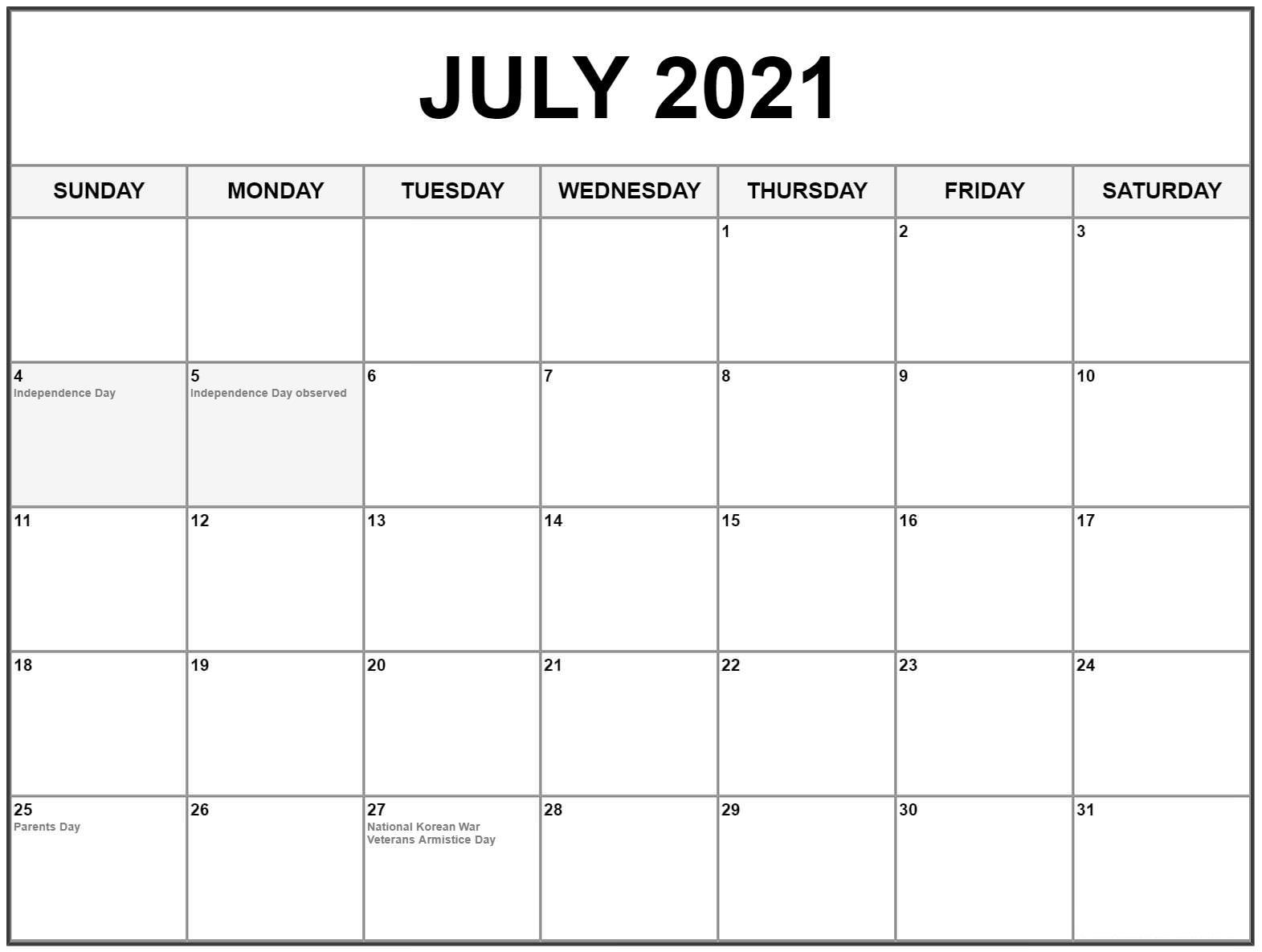 July 2021 calendar US Holidays