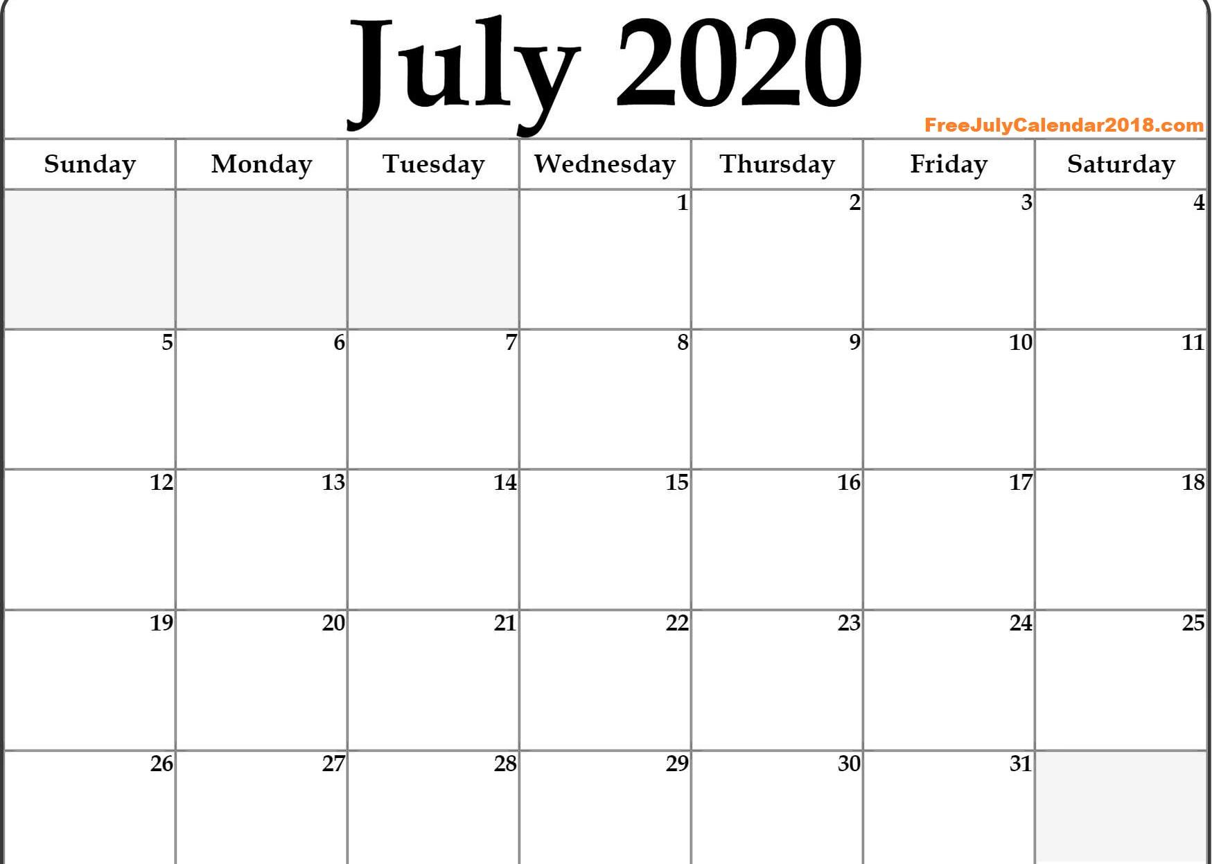 July 2020 MonthCalendar