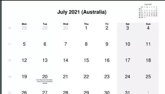 July 2021 Australia Holidays