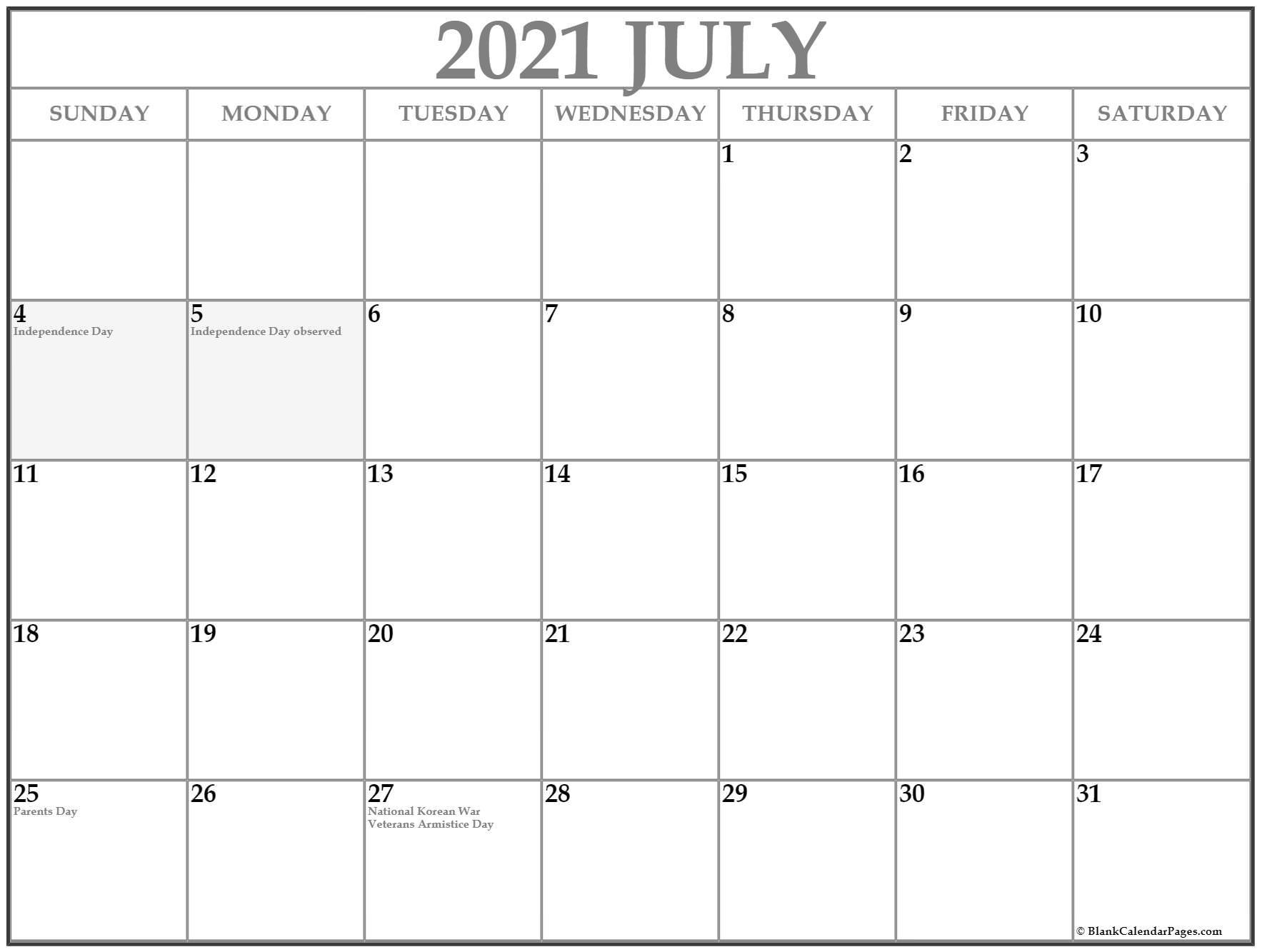 July 2021 Calendar Holidays