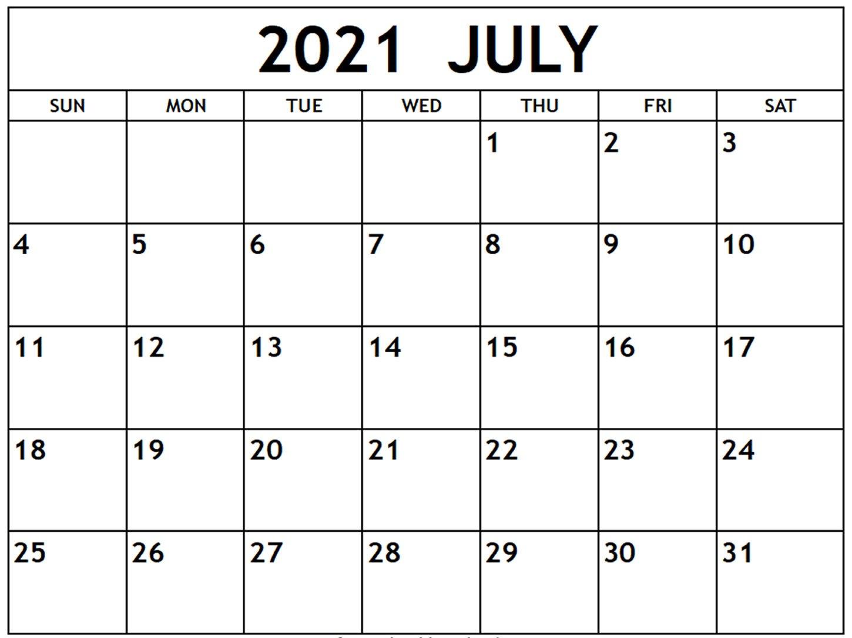 July 2021 Holidays