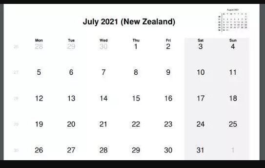 July 2021 New Zealand Holidays