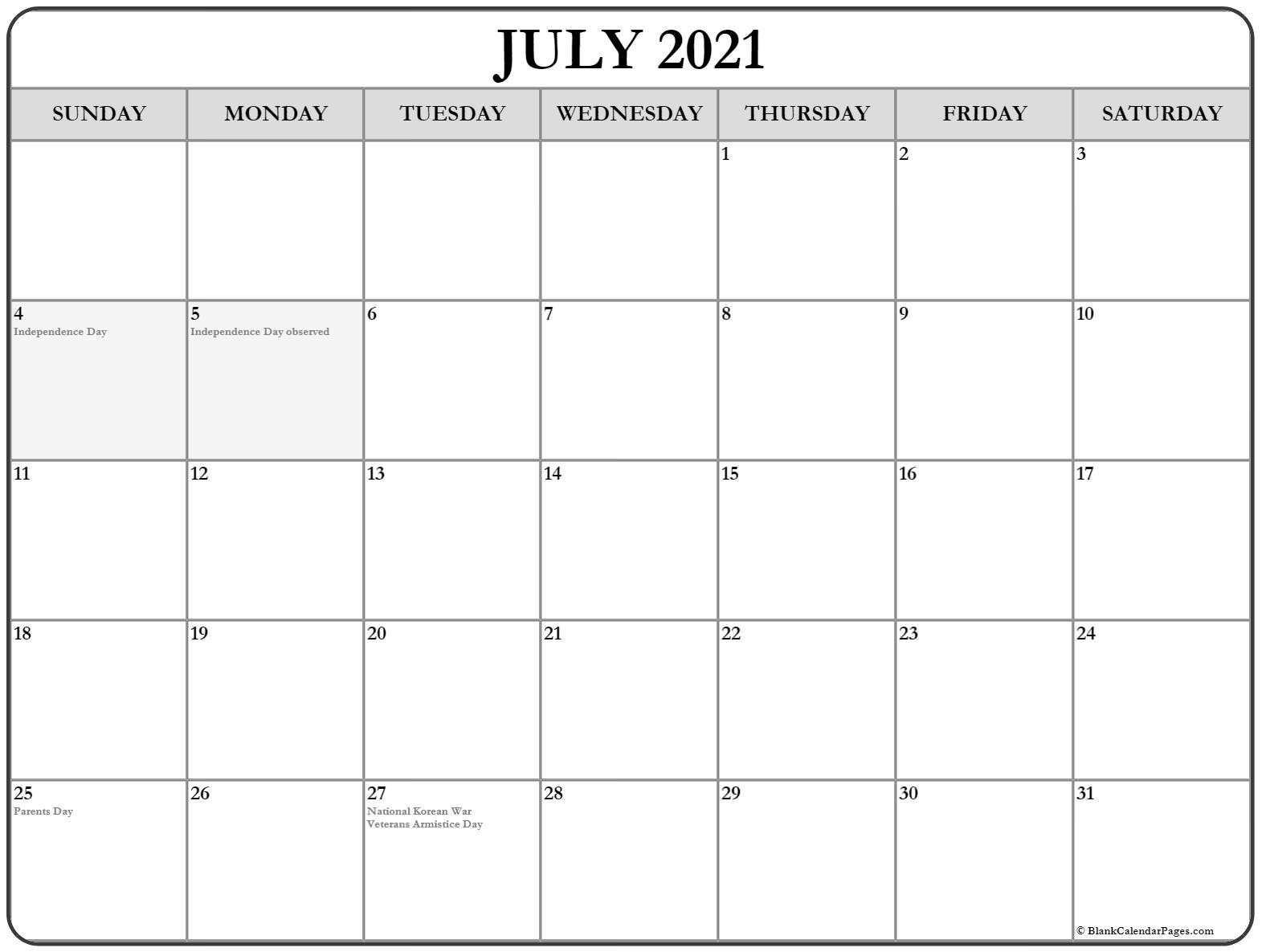 July 2021 UK Holidays