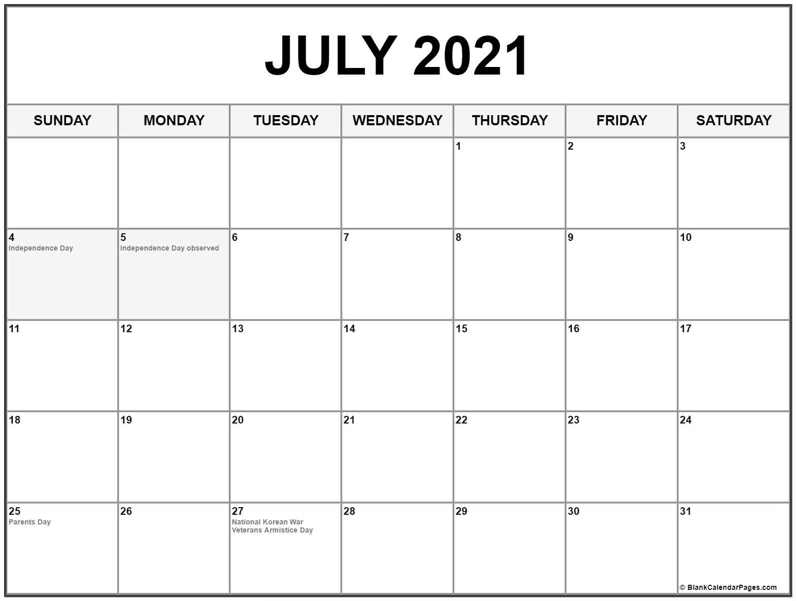 July 2021 US Calendar