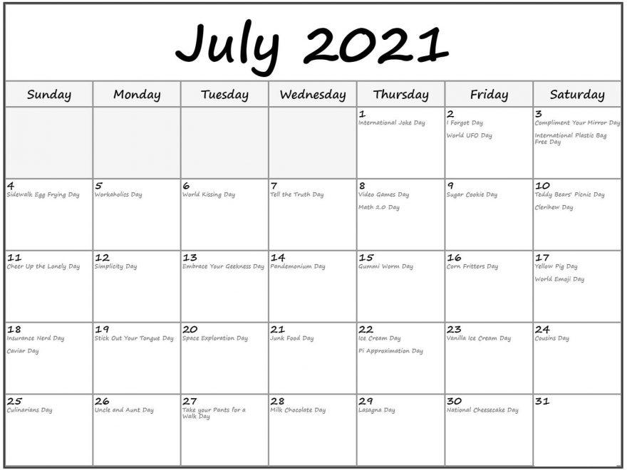 July 2021 USA Holidays Calendar