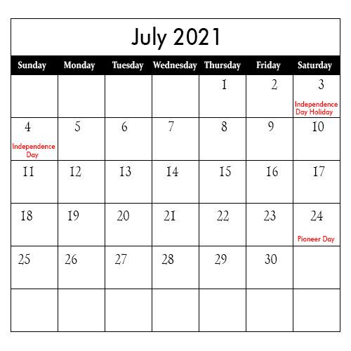 July Calendar 2021 Notes